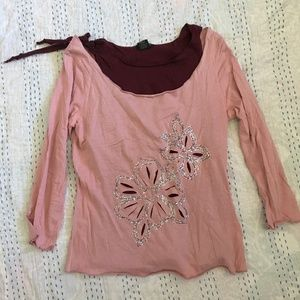 Eyeshadow 2 Layer Pink Cutout Embellished Top Sz L